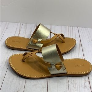 Soludos gold and brown leather strap sandals